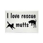 I Love Rescue Mutts Rectangle Magnet (100 pack)