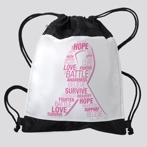 Breast Cancer Ribbon Collage Drawstring Bag