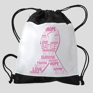 Breast Cancer Ribbon Collage Drawstring Bag
