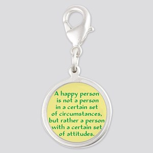 Happy Person Silver Round Charm