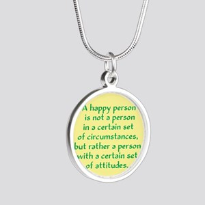 Happy Person Silver Round Necklace