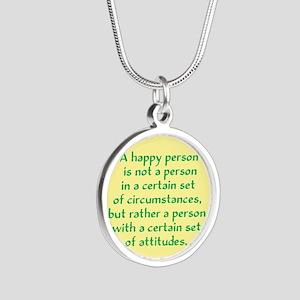 Happy Person Silver Round Necklace