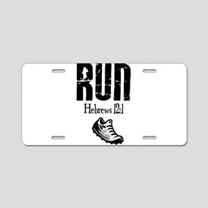 run hebrews Aluminum License Plate