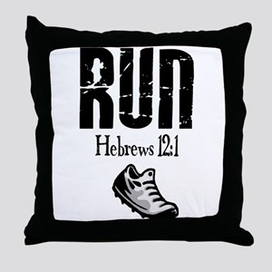 run hebrews Throw Pillow