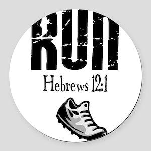 run hebrews Round Car Magnet