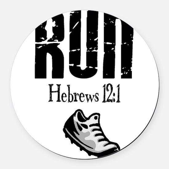 run hebrews.png Round Car Magnet