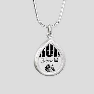 run hebrews Silver Teardrop Necklace