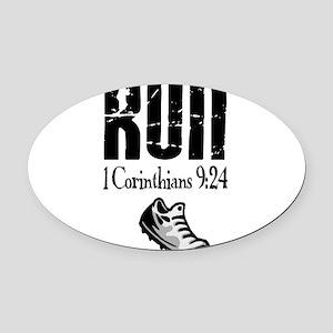 run fixed Oval Car Magnet