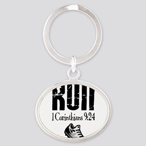 run fixed Oval Keychain