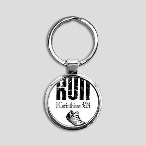 run fixed Round Keychain