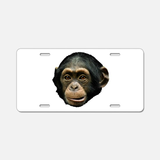 Chimp Face Aluminum License Plate