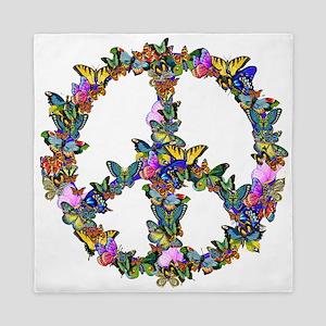 Butterflies Peace Sign Queen Duvet