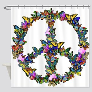 Butterflies Peace Sign Shower Curtain