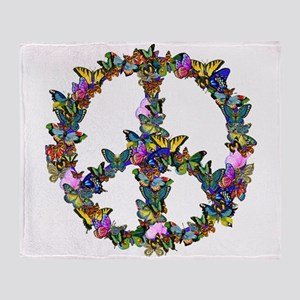 Butterflies Peace Sign Throw Blanket