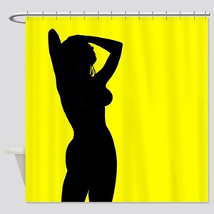 Yellow Silhouette Shower Curtain