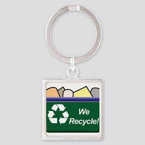 We Recycle Square Keychain