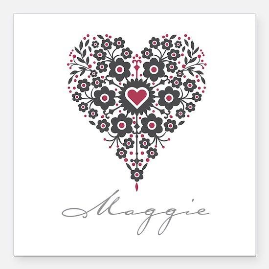 "Love Maggie Square Car Magnet 3"" x 3"""
