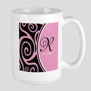 Elegant Black Pink Swirls Monogram Stainless Steel