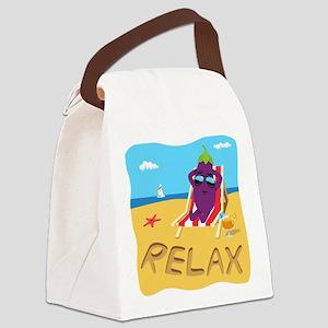Emoji Eggplant Relax Canvas Lunch Bag