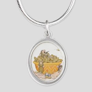 Nutty Friends Silver Oval Necklace