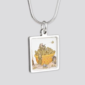 Nutty Friends Silver Square Necklace
