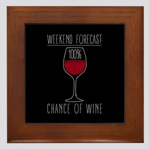 100 Percent Chance of Wine Framed Tile