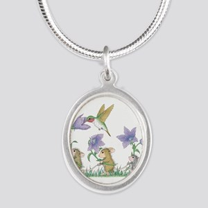 A Spring Tail Silver Oval Necklace