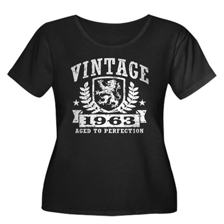 Vintage 1963 Women's Plus Size Scoop Neck Dark T-S