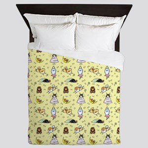 Pomeranian Pattern Yellow Queen Duvet