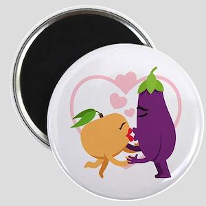 Emoji Eggplant and Peach Romantic Kiss Magnet