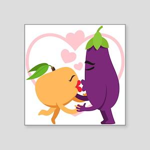 """Emoji Eggplant and Peach Ro Square Sticker 3"""" x 3"""""""