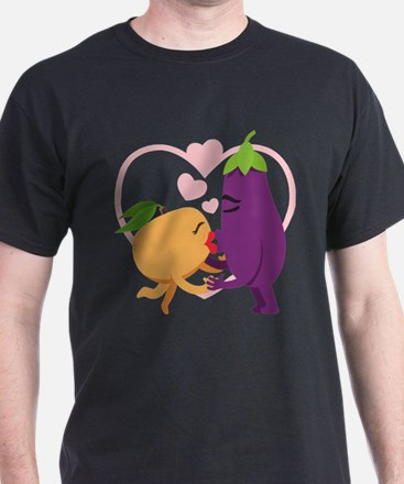 Emoji Eggplant and Peach Romantic Kis T-Shirt