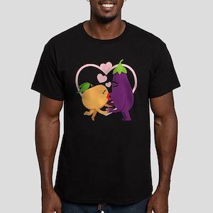Emoji Eggplant and Pea Men's Fitted T-Shirt (dark)