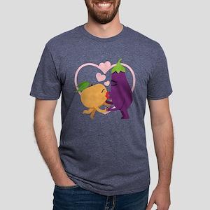 Emoji Eggplant and Peach Ro Mens Tri-blend T-Shirt