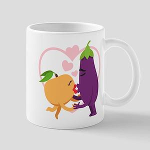 Emoji Eggplant and Peach Romanti 11 oz Ceramic Mug