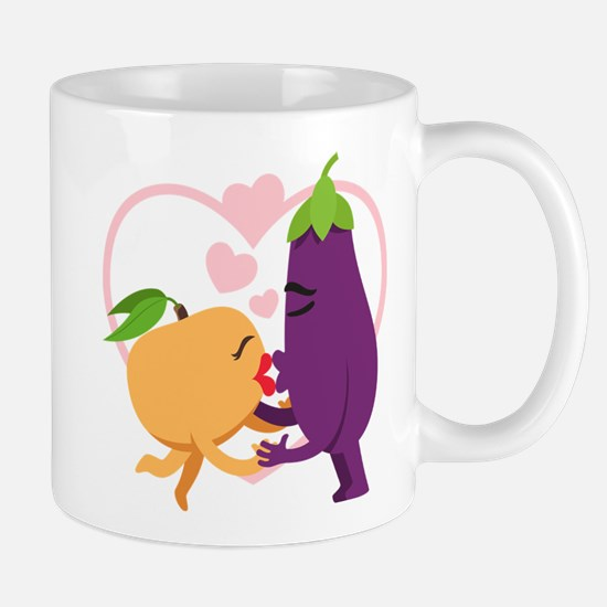 Emoji Eggplant and Peach Romanti Mug