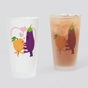 Emoji Eggplant and Peach Romantic K Drinking Glass