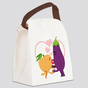 Emoji Eggplant and Peach Romantic Canvas Lunch Bag