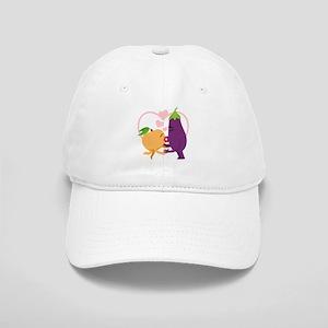 Emoji Eggplant and Peach Romantic Kiss Cap