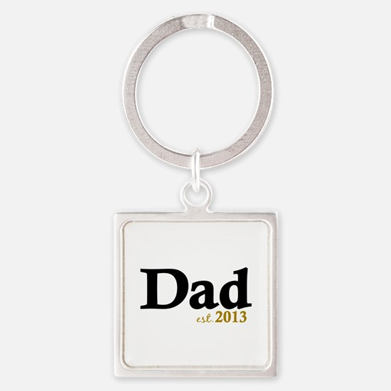 Dad Est 2013 Square Keychain