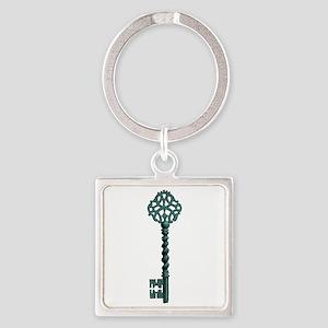 Skeleton Key Square Keychain