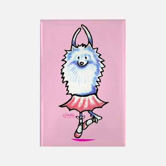 White Pomeranian Ballerina Rectangle Magnet