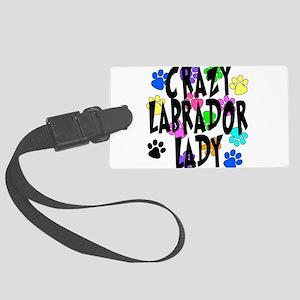 Crazy Labrador Lady Large Luggage Tag