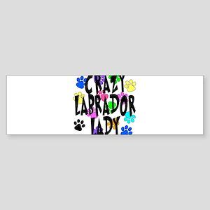 Crazy Labrador Lady Sticker (Bumper)