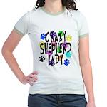 Crazy Shepherd Lady Jr. Ringer T-Shirt