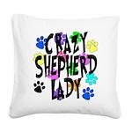 Crazy Shepherd Lady Square Canvas Pillow