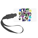 Crazy Shepherd Lady Large Luggage Tag