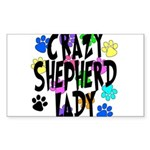 Crazy Shepherd Lady Sticker (Rectangle)