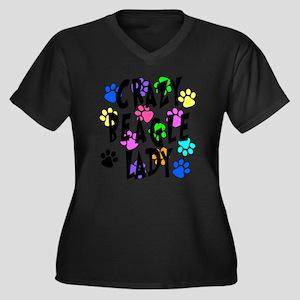Crazy Beagle Lady Women's Plus Size V-Neck Dark T-