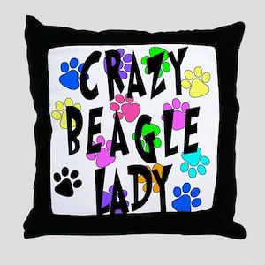 Crazy Beagle Lady Throw Pillow